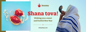 Rosh Hashanah Greeting Man with Shofar | Facebook Cover Template