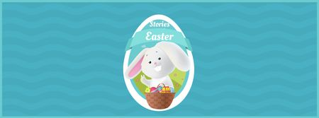 Easter bunny with colored eggs in basket Facebook Video cover Modelo de Design