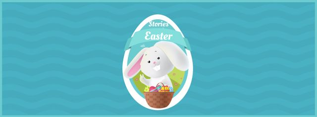 Plantilla de diseño de Easter bunny with colored eggs in basket Facebook Video cover