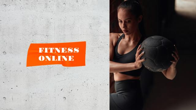 Woman coach at Online Fitness classes Youtubeデザインテンプレート