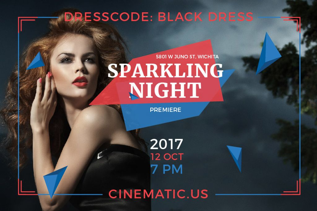 Sparkling night party Annoucement — Create a Design