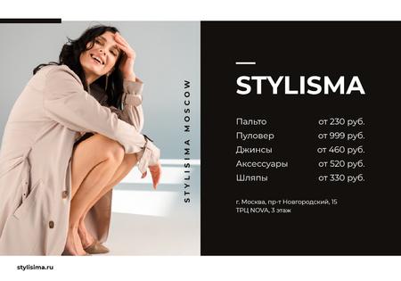Designvorlage Smiling Woman in trenchcoat für VK Universal Post