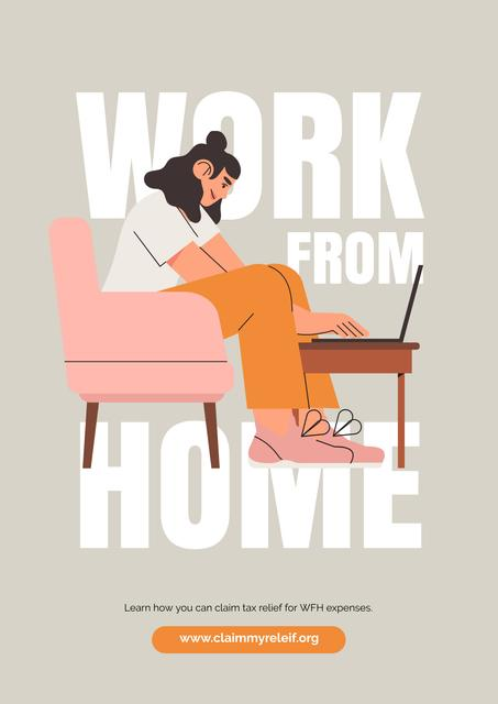 Quarantine concept with Woman working from Home Posterデザインテンプレート