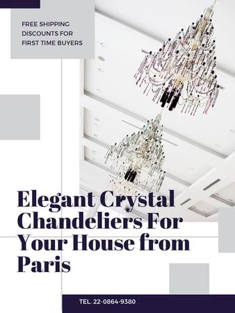 Elegant crystal Chandeliers offer Poster US – шаблон для дизайну