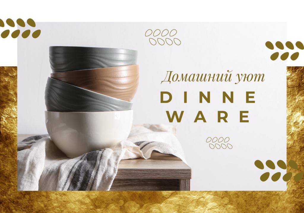 Dinnerware Ad with Stylish Bowls on Table — Crear un diseño