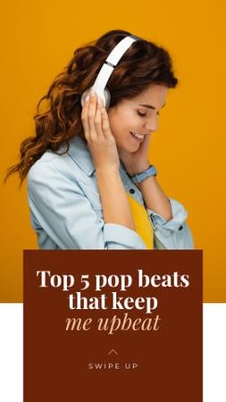 Modèle de visuel Top pop beats with Smiling Woman listeting Music - Instagram Story
