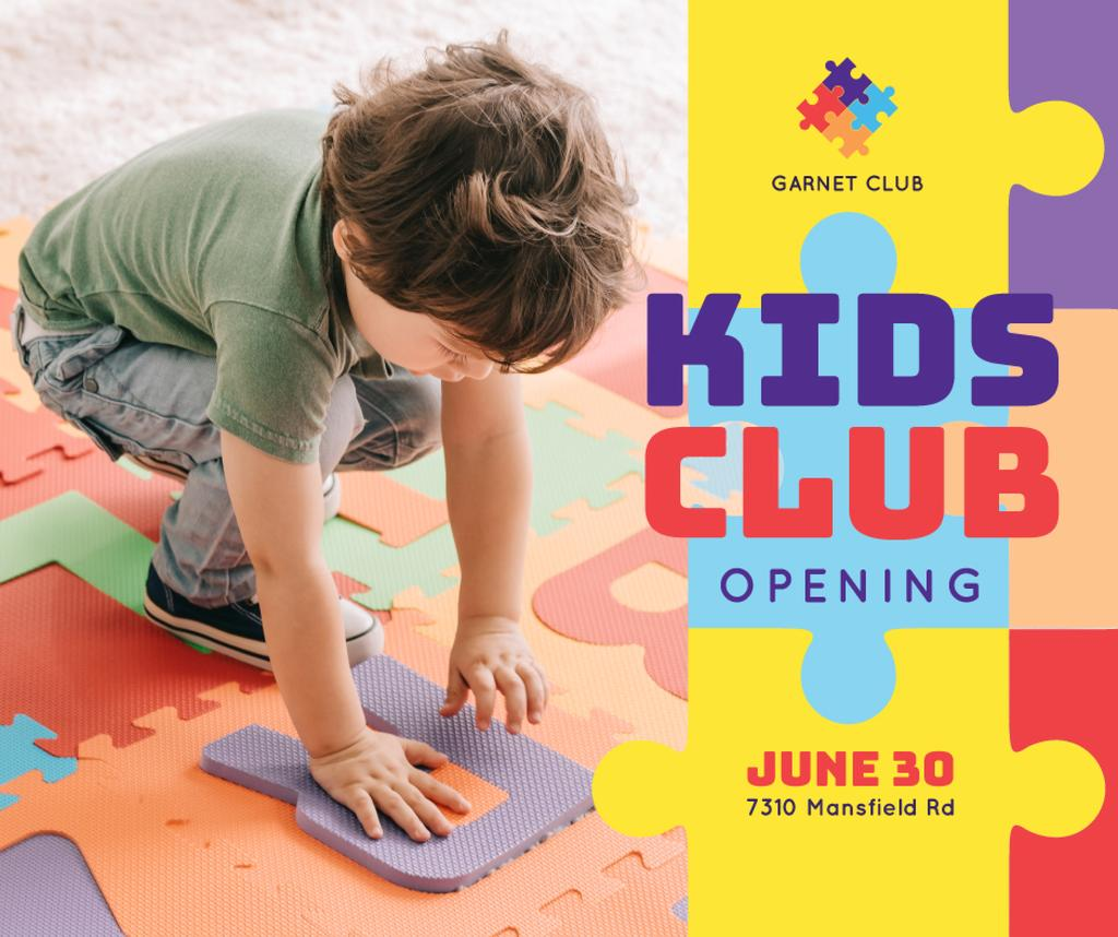 Plantilla de diseño de Kids Club Ad Boy Playing Puzzle Facebook