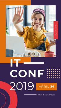 IT Conference Announcement Smiling Creative Woman | Vertical Video Template