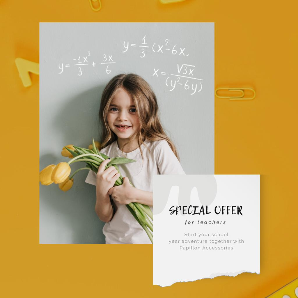 Back to School Offer Girl with Tulips Bouquet | Square Video Template — Создать дизайн