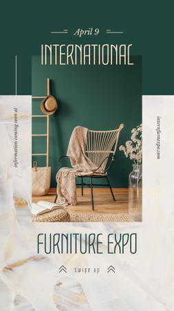 Cozy interior in green colors Instagram Story – шаблон для дизайну