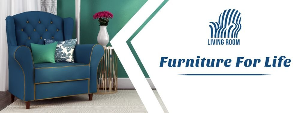 Furniture Ad Cozy Interior Blue Armchair | Facebook Cover Template — Maak een ontwerp