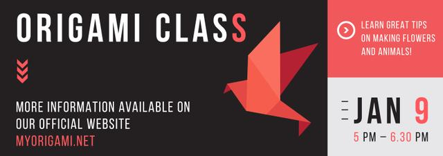 Origami Classes Invitation Paper Bird in Red Tumblr – шаблон для дизайна