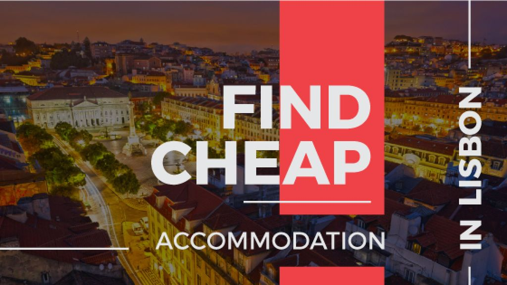 cheap accommodation in Lisbon banner — Створити дизайн