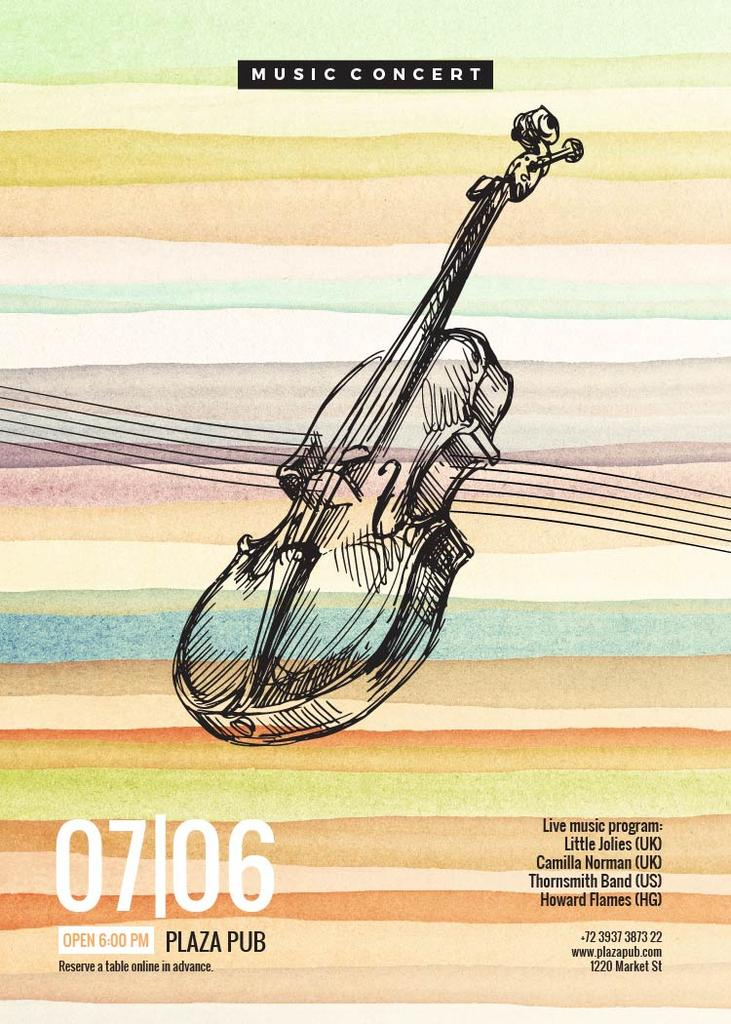 Classical Music Concert Violin Sketch | Flyer Template — ein Design erstellen