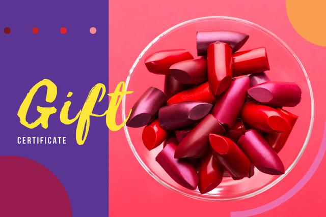 Template di design Red Lipstick Pieces Gift Certificate