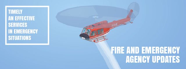Fire helicopter dropping water Facebook Video cover – шаблон для дизайну