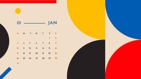 Colorful Geometric pattern Calendar Design Template