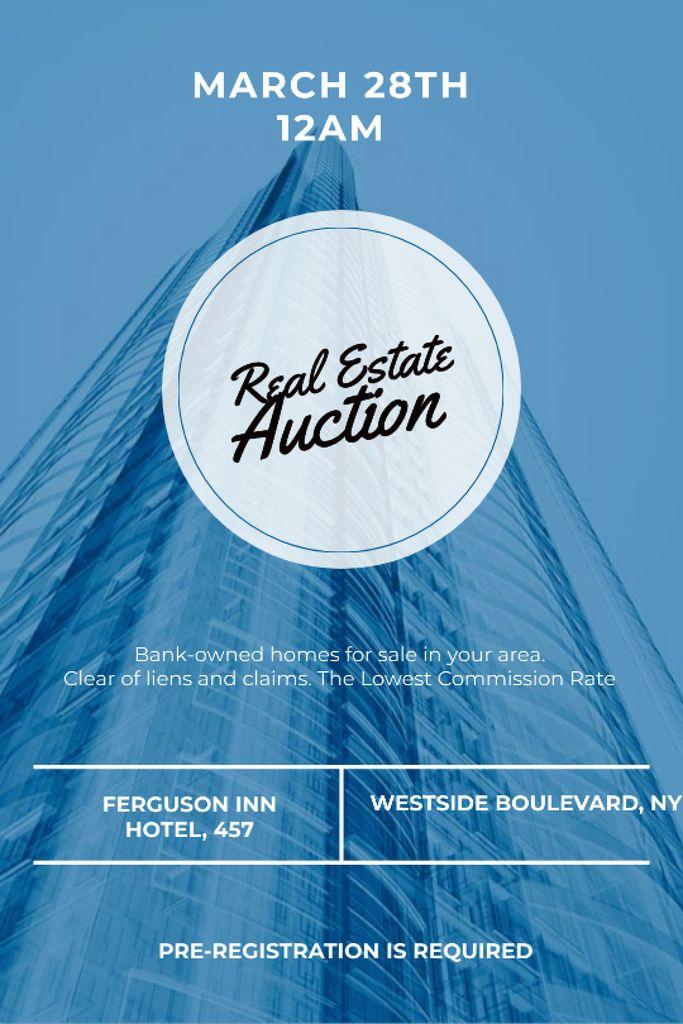 Blue Skyscraper for Real estate auction Tumblr Design Template