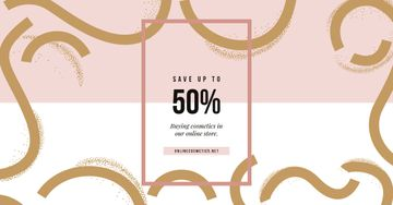Sale Offer Pink and Golden Pattern | Facebook Ad Template