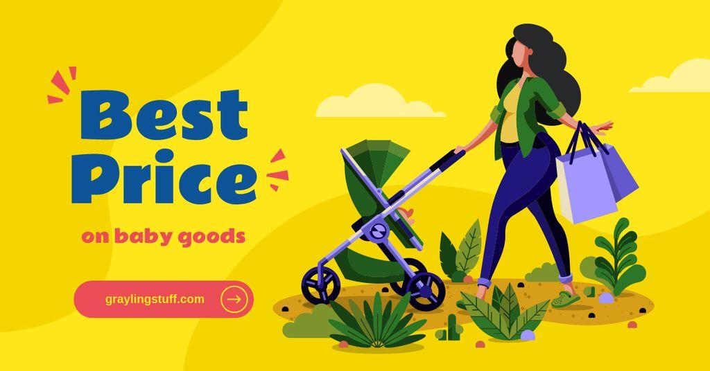 Mother with baby stroller shopping — Créer un visuel