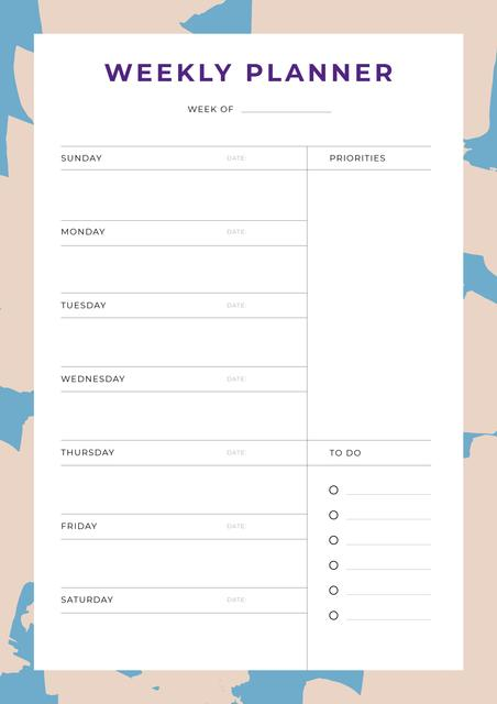 Weekly Planner in Abstract Frame Schedule Plannerデザインテンプレート