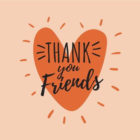 Plantilla de diseño de Thank You friends on Heart Instagram