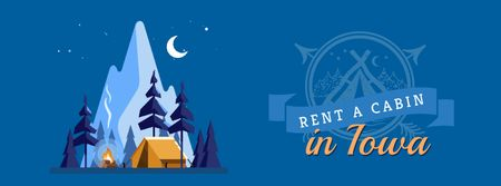 Plantilla de diseño de Cabin between mountains at night Facebook Video cover
