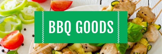 Plantilla de diseño de BBQ Food Offer Grilled Chicken on Skewers Twitter