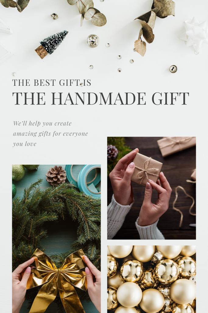 Handmade Gift Ides Woman Making Christmas Wreath | Pinterest Template — Maak een ontwerp