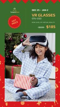 Christmas Sale Girl with Gift in VR Glasses | Stories Template