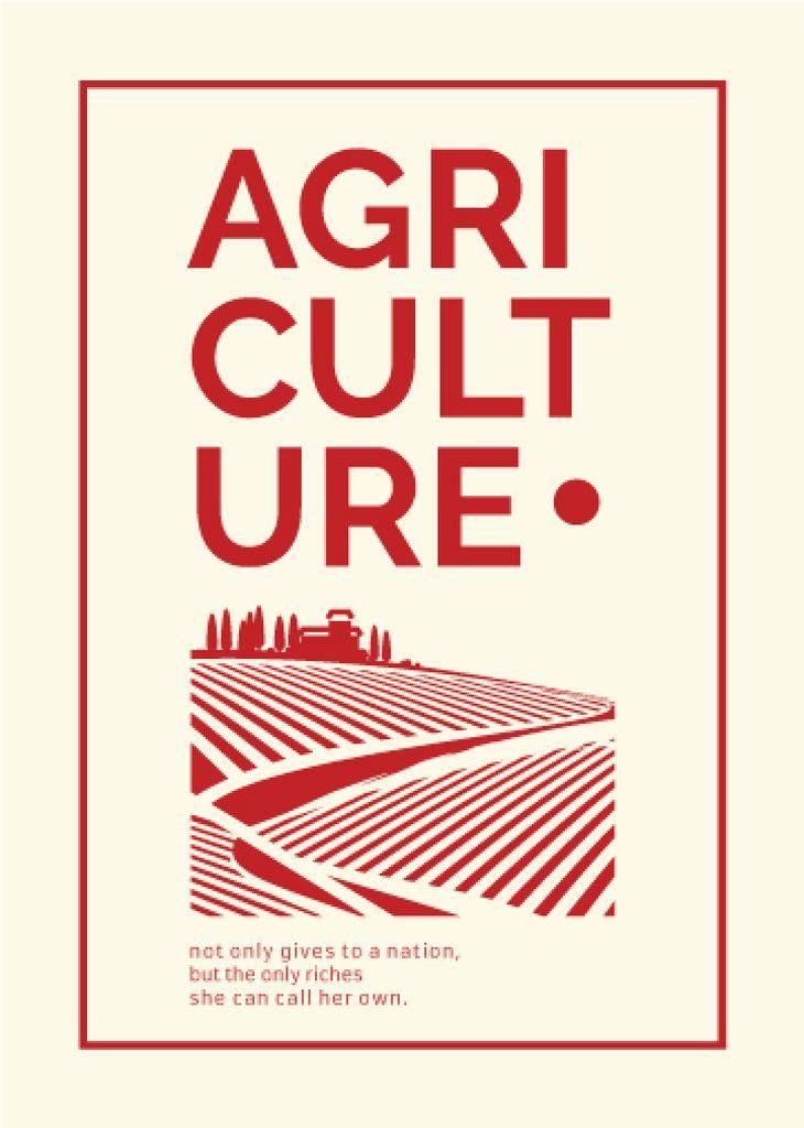 Agriculture company Ad Red Farmland Landscape Flayer Modelo de Design