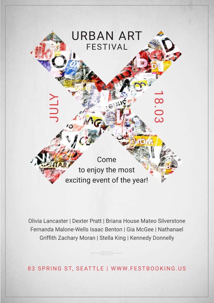 Designvorlage Urban Art Festival Invitation für Poster