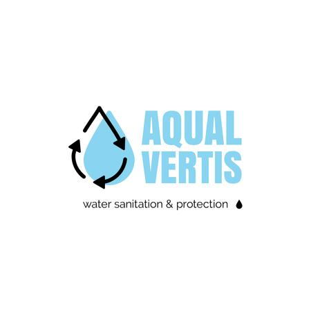 Plantilla de diseño de Water Services Ad with Drop in Blue Logo