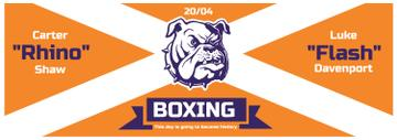 Boxing Match Announcement Bulldog on Orange | Tumblr Banner Template