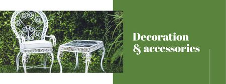 Decoration and Accessories Offer with Chair and Table Facebook cover Modelo de Design