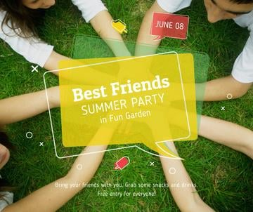 Best friends summer party on grass