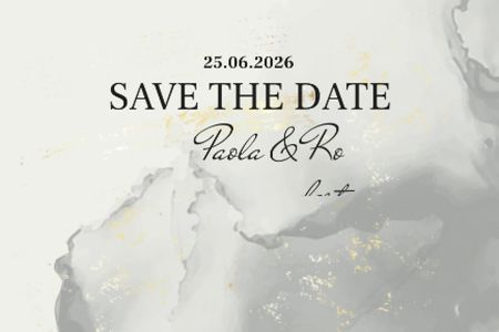 Plantilla de diseño de Wedding announcement on grey watercolor pattern Label