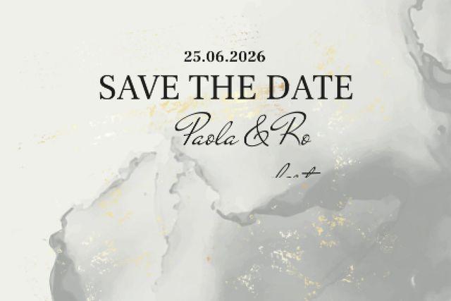 Template di design Wedding announcement on grey watercolor pattern Label