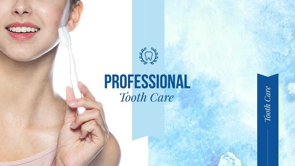 Tooth Care Services Ad Woman Holding Toothbrush — ein Design erstellen
