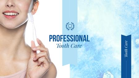 Plantilla de diseño de Tooth Care Services Ad with Woman Holding Toothbrush Youtube