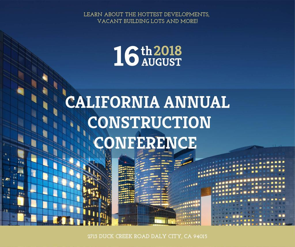 Construction Conference Announcement Modern Glass Buildings | Facebook Post Template — Crear un diseño