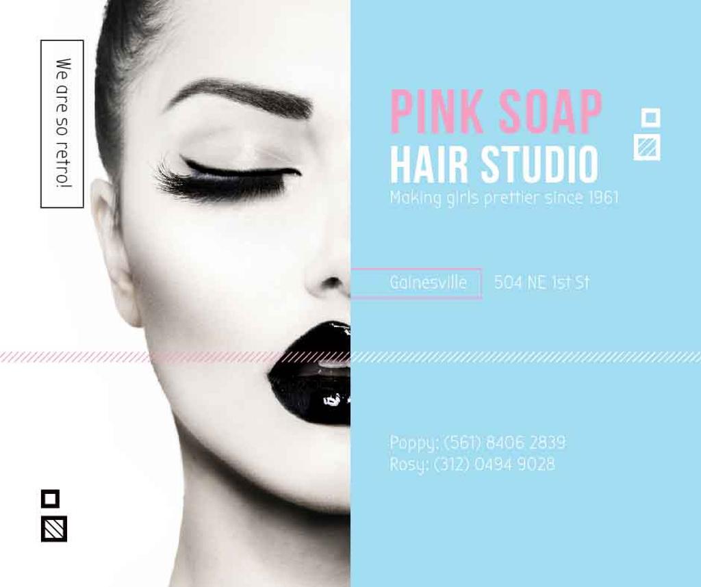 Modèle de visuel Hair Studio Ad Woman with creative makeup - Facebook