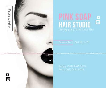 Plantilla de diseño de Hair Studio Ad Woman with creative makeup Facebook