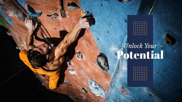 Motivational Quote with Climber Presentation Wide Modelo de Design
