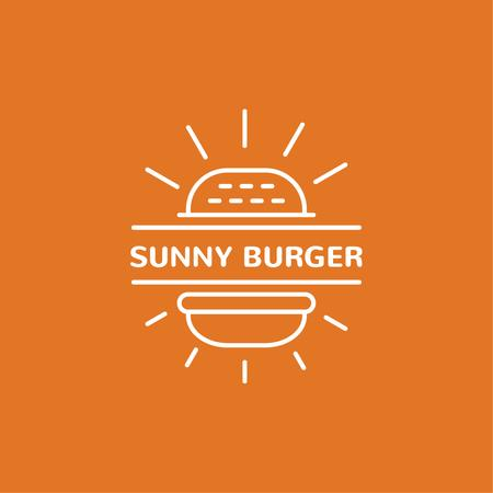 Fast Food Ad with Burger in Orange Logo Modelo de Design