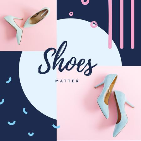 Female Fashionable Shoes in Blue Instagram AD – шаблон для дизайну