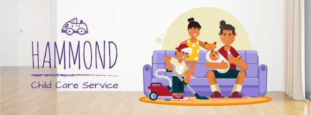 Modèle de visuel Family with kids at home - Facebook Video cover