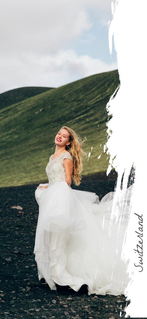 Happy Woman in bridal dress — Crear un diseño