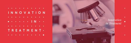 Healthcare Innovation with Modern Scientific Microscope Email header Modelo de Design