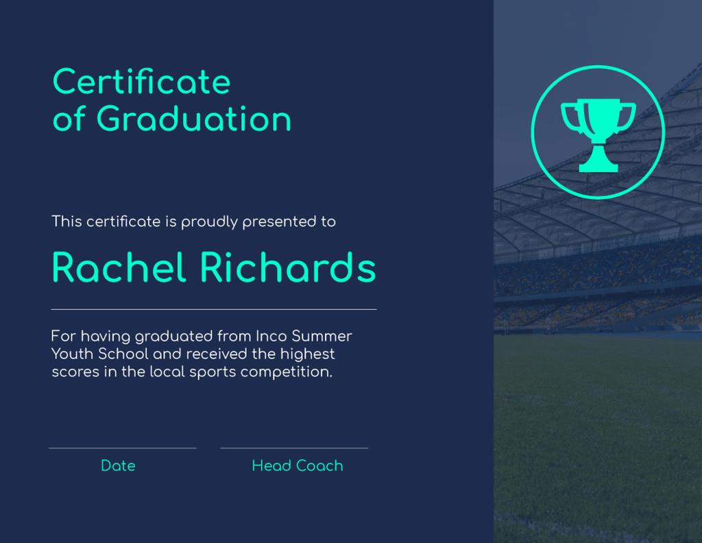 Summer School Graduation with Cup on Football field — Modelo de projeto